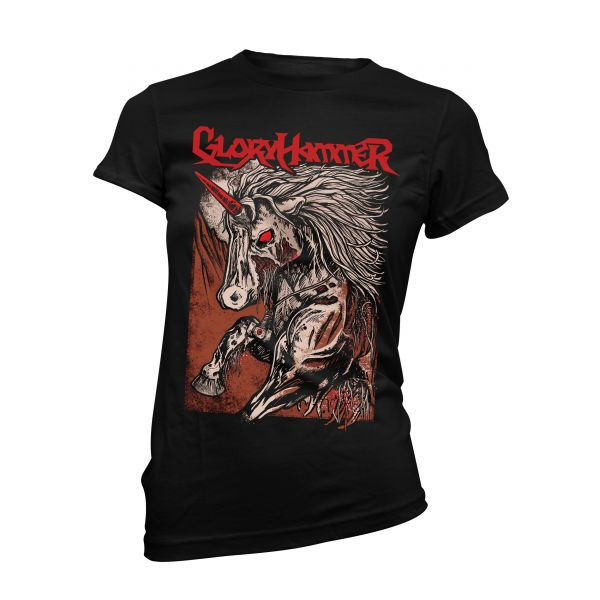 Gloryhammer Red Logo Unicorn | Girly T-Shirt