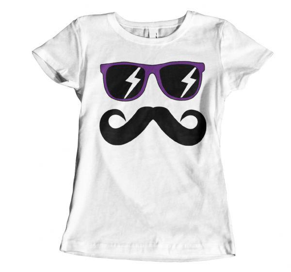 Fun Mustache & Glasses purple