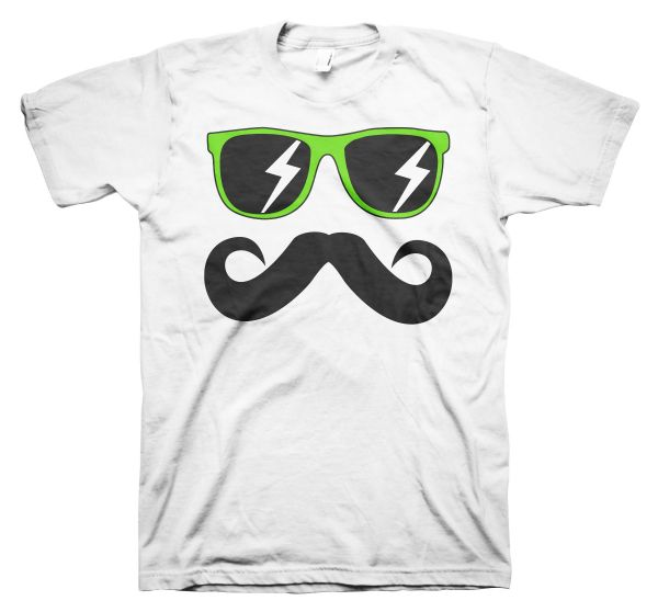 Fun Mustache & Glasses green