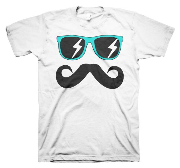 Fun Mustache & Glasses aqua